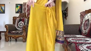 Indian Desi Bhabhi Enervating Timid Saree More Front Of Devar