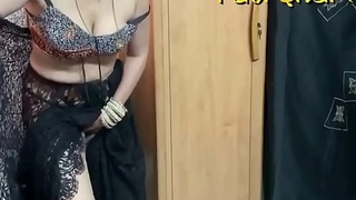 Rati bhabhi in inky saree online with her sweetheart