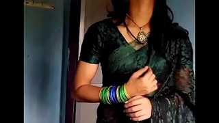 Crossdresser almost green saree