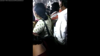 Big ass girl groped roughly Chennai teeming bus