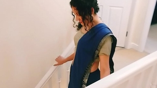 Desi young bhabhi strips from saree to divert you Christmas present POV Indian