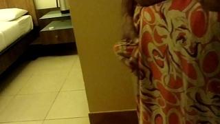 Wear and Cum in Satin silk saree of neighbor 3