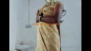 Indian sexy crossdresser Lara D'Souza saree film over
