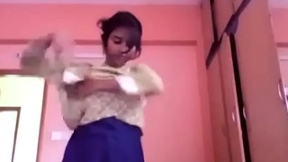 young college desi cute boobed teen stripping