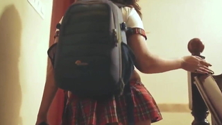 Indian Hot infant Nitya surrounding School Uniform Flaunts will not hear of Ass