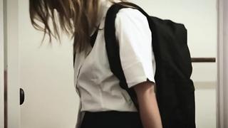 Sexy schoolgirl fucked overwrought stepbro