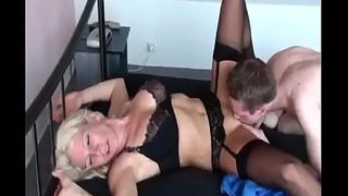 Hot German Milf fucks her Prepubescence for the first Seniority