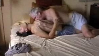 Old man, son and wife enjoy