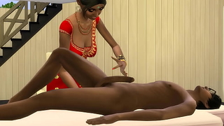 INDIAN Dam GIVES A Rub-down TO HER VIRGIN SON TO FEEL BETTER AFTER A HARD DAY'S Deception - Indian Intercourse