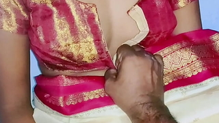 Cream color sary in Indian low-spirited wife