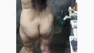 My wife bathing