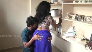 Indian mother and nipper romance in kitchen