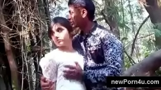 Most Beautiful and cute Indian girl kiss and boob driven by bf at jungle at newPorn4u.com