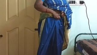 des indian horny number one tamil telugu kannada malayalam hindi wife vanitha wearing low-spirited colour saree  uniformly big boobs added to shaved pussy stir up unending boobs stir up nip rubbing pussy calumny