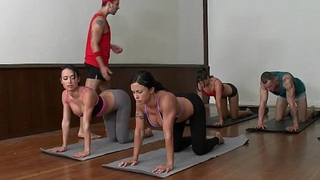 Cfnm yoga milf decide closeup swapping jizz