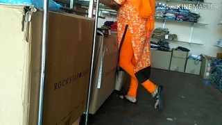 Aunty showing ass prevalent shop