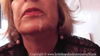 British Rosemary lets the Panty Pervert spunk back her mouth.