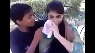 Indian teen kissing and pressing boobs around public