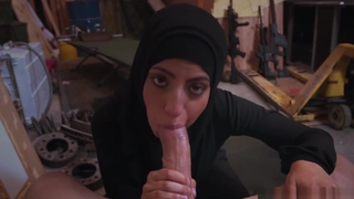 Arab babe with hijab deep-throats monster cock added to loves it