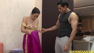 Indian stepmom with reference to saree drilled hard with reference to the ass by stepson