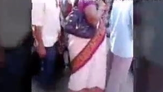 Superannuated man spandex desi wife in bus stand....